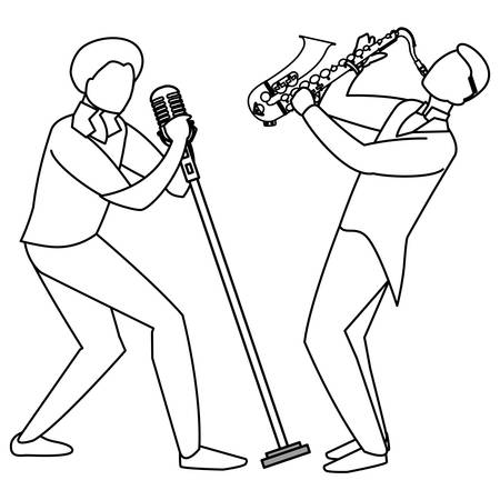 Illustration for singer and musician couple characters vector illustration design - Royalty Free Image