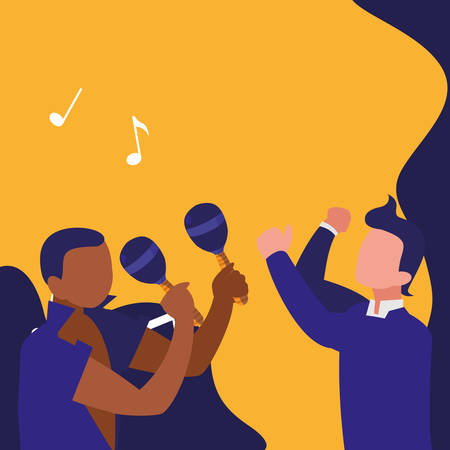 Illustration for couple of musicians characters vector illustration design - Royalty Free Image