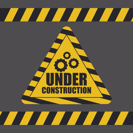Illustration pour under construction label with caution tape vector illustration design - image libre de droit