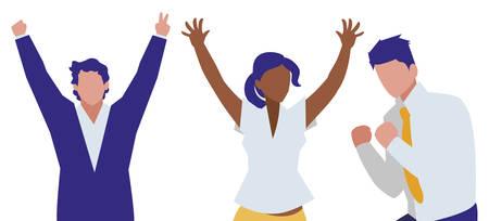 Illustration pour elegant business people celebrating characters vector illustration design - image libre de droit