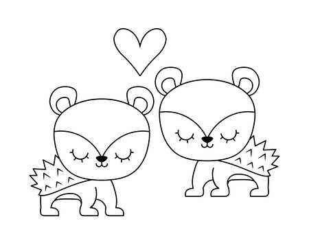 Illustration for couple of cute porcupine animal isolated icon vector illustration design - Royalty Free Image