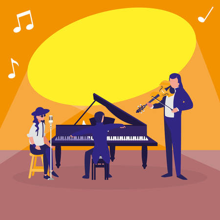 Illustration for singer and musicians band characters vector illustration design - Royalty Free Image