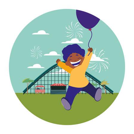 Illustration for smiling boy holding balloon park amusement vector illustration - Royalty Free Image