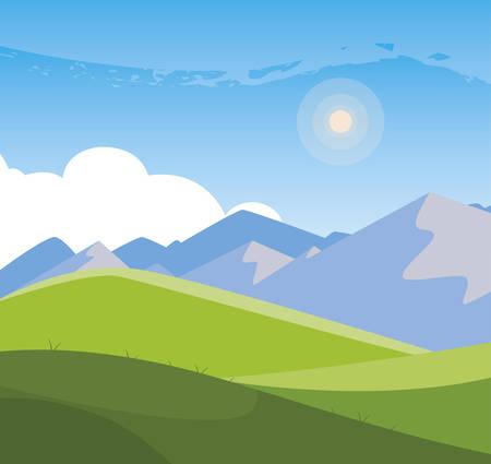 Illustration pour field camp and mountains landscape scene vector illustration design - image libre de droit