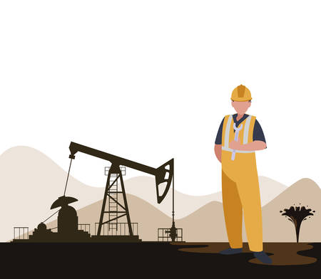 Illustration pour oil industry worker avatar character vector illustration design - image libre de droit