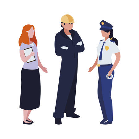 Illustration for group of professional workers characters vector illustration design - Royalty Free Image