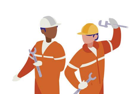 Illustration for couple of men builders working vector illustration design - Royalty Free Image