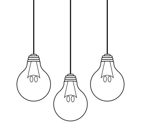 Illustration pour set of light bulbs hanging isolated icon vector illustration design - image libre de droit
