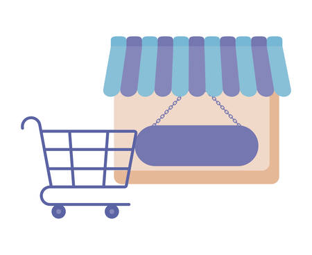 Illustration for store facade with shopping cart vector illustration design - Royalty Free Image