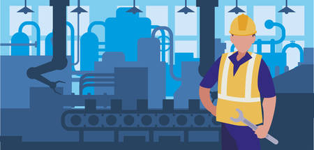 Illustration for worker in factory workplace vector illustration design - Royalty Free Image