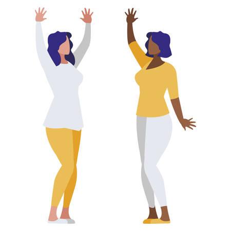 Illustration for elegant interracial businesswomen avatars characters vector illustration design - Royalty Free Image