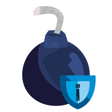 shield bomb attack cybersecurity data vector illustration