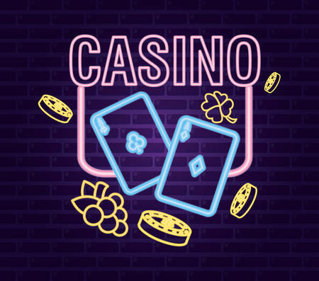 aces poker cards clover fruit neon casino game bets vector illustration