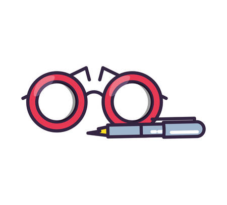 optical eyeglasses with pen icon vector illustration design