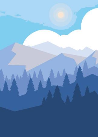 Illustration pour mountains with forest snowscape scene vector illustration design - image libre de droit