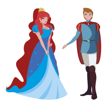 Illustration pour prince charming and princess of tales characters vector illustration design - image libre de droit