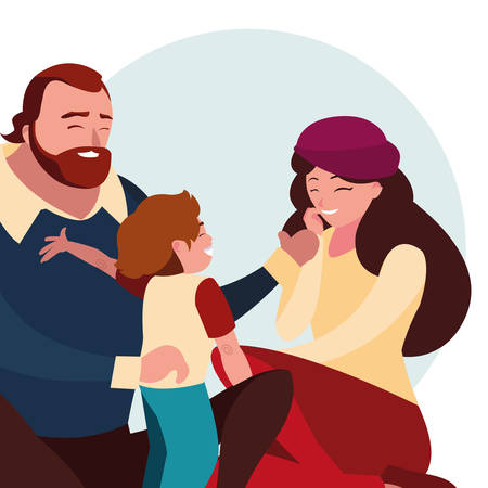 Illustration for parents with son family avatar character vector illustration design - Royalty Free Image