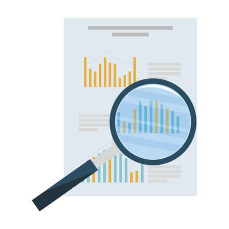 Illustration pour search magnifying glass with financial documents vector illustration design - image libre de droit
