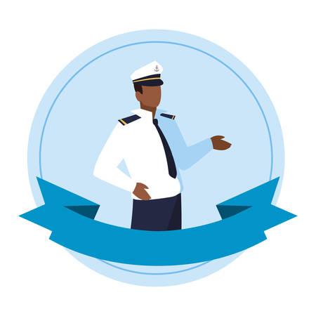 Illustration pour sailor captain marine character vector illustration design - image libre de droit