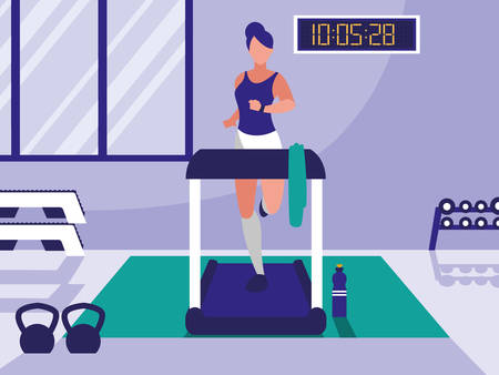 woman with runner machine in gym vector illustration design