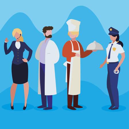 Illustration pour group of professional workers characters vector illustration design - image libre de droit