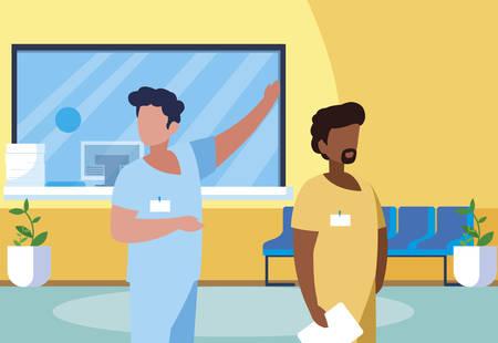 Illustration pour interracial male medicine workers in clinic reception vector illustration design - image libre de droit