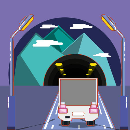 Ilustración de cargo truck on the road and tunnel over purple background, colorful design. vector illustration - Imagen libre de derechos
