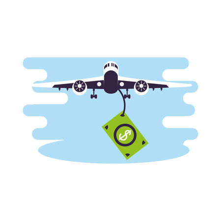 Ilustración de airplane flying vehicle with bills dollars vector illustration design - Imagen libre de derechos