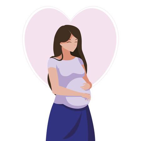 Illustration pour beautiful pregnancy woman in heart character vector illustration design - image libre de droit
