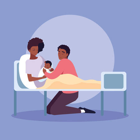 Illustration for mother afro with newborn in stretcher and father observing vector illustration design - Royalty Free Image