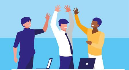 Ilustración de business men elegant in the workplace celebrating vector illustration design - Imagen libre de derechos