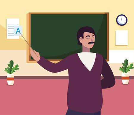 Illustration pour teacher male in the classroom character vector illustration design - image libre de droit
