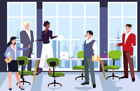 Illustration pour group of people business in the work office, coordinated work in friendly team in the office vector illustration design - image libre de droit