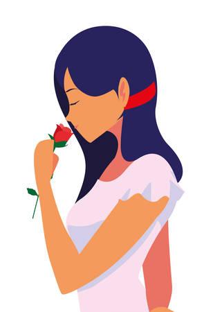 Illustration pour beautiful woman with flower rose vector illustration - image libre de droit