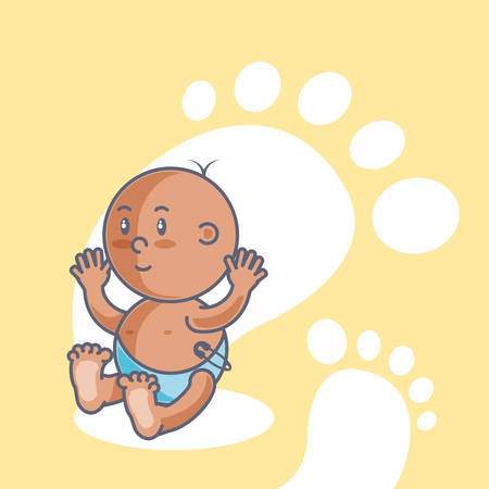 Illustration for cute baby boy with footprints decoration vector illustration design - Royalty Free Image