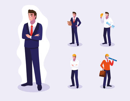 Illustration pour Set of workers design, Working occupation person job corporate employee and service theme Vector illustration - image libre de droit