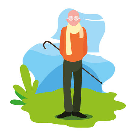 Illustration for happy grandparents day - grandfather character standing outdoor vector illustration - Royalty Free Image