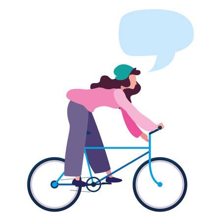 Illustration pour woman talk bubble riding bicycle activity image on white background vector illustration - image libre de droit