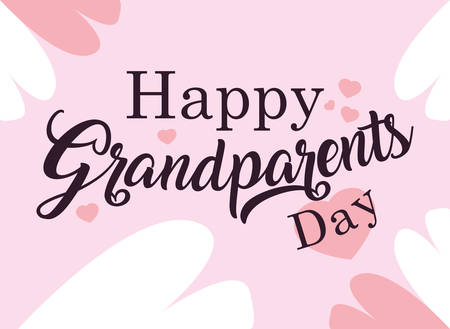 Illustration for happy grandparents day poster with pattern of hearts vector illustration design - Royalty Free Image