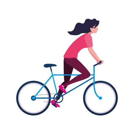 Illustration pour woman riding bicycle activity image on white background vector illustration - image libre de droit