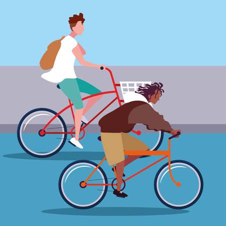 Illustration pour young men riding bike avatar character vector illustration design - image libre de droit