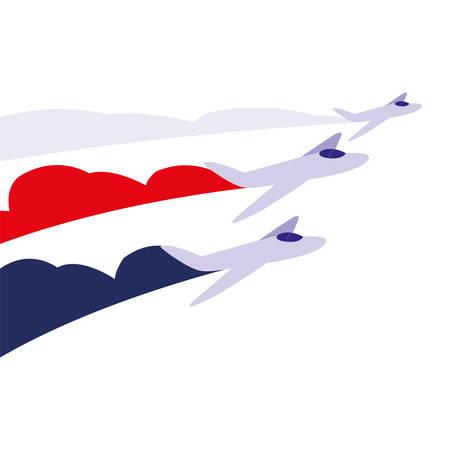 jets flying in formation on white background vector illustration design
