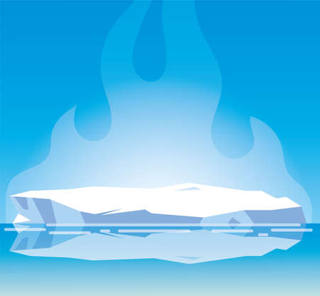 Illustration for arctic landscape with blue sky and iceberg, north pole vector illustration design - Royalty Free Image