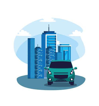 Illustration pour Car on the street in front of buildings design, Vehicle automobile auto transportation transport wheel automotive and speed theme Vector illustration - image libre de droit
