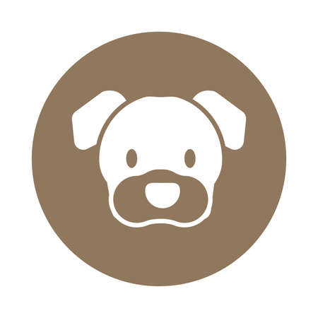 Illustration pour head of cute dog, block and flat style icon vector illustration design - image libre de droit