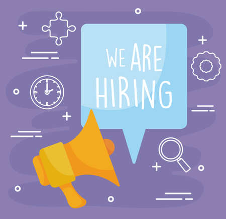 Illustration pour We are hiring message with megaphone design, job work employee business employment career recruitment wanted interview employer and recruit theme Vector illustration - image libre de droit