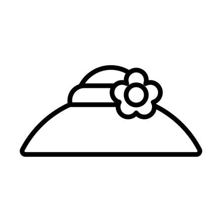Illustration for gardening hat , line style icon vector illustration design - Royalty Free Image