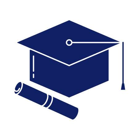 Illustration pour graduation cap and diploma, silhouette style icon vector illustration design - image libre de droit