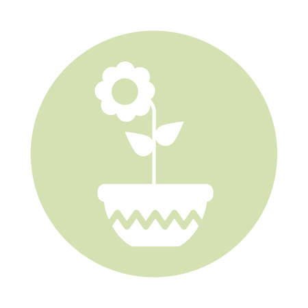 Illustration pour cute flower with potted, block and flat style icon vector illustration design - image libre de droit