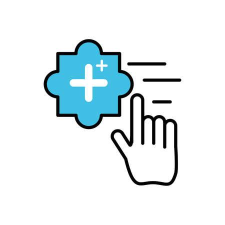hand cursor index with add pluss symbol vector illustration design